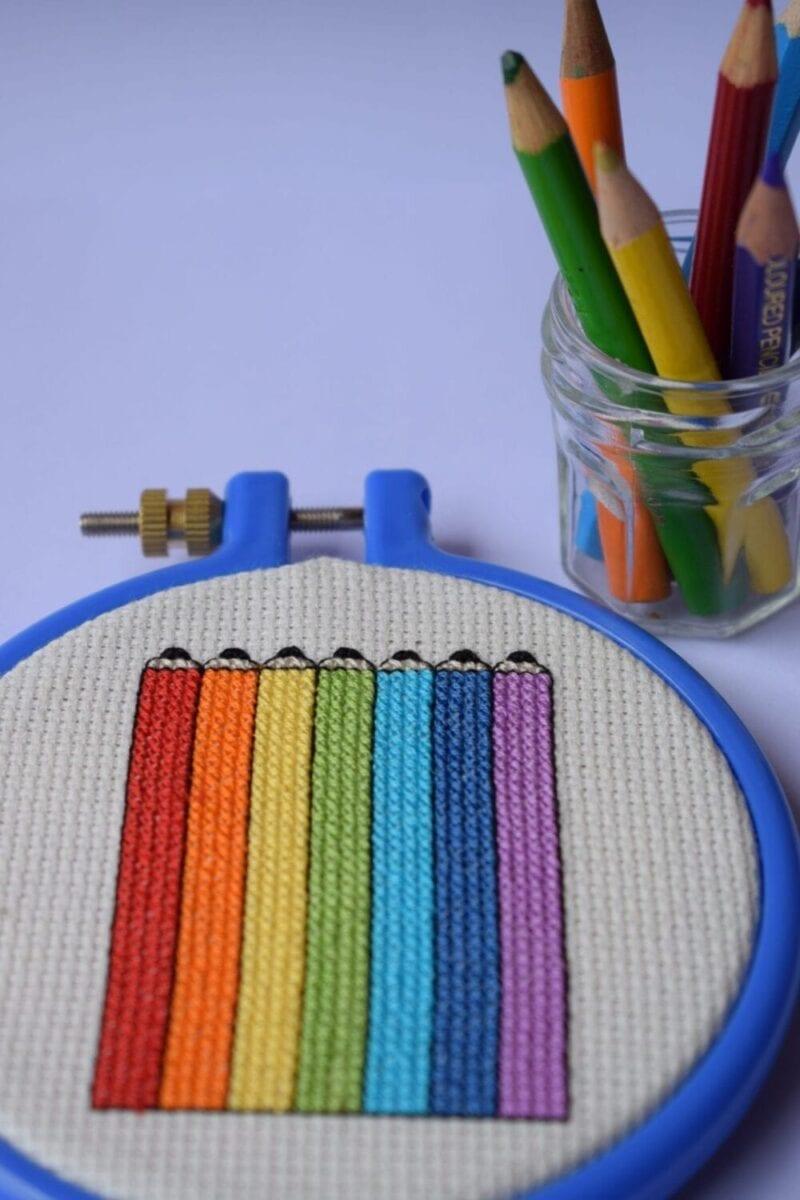 Free Back to school cross stitch pattern Rainbow pencils PDF