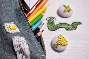 etsy digital download back to school cross stitch patterns on a pencil case